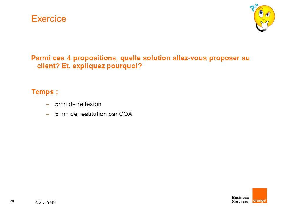 29 Atelier SMN 29 Exercice Parmi ces 4 propositions, quelle solution allez-vous proposer au client? Et, expliquez pourquoi? Temps : – 5mn de réflexion