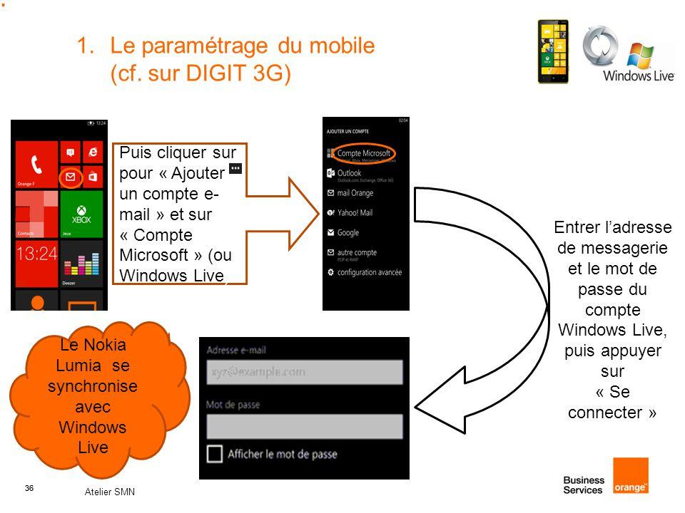 36 Atelier SMN 36 1.Le paramétrage du mobile (cf. sur DIGIT 3G) Puis cliquer sur pour « Ajouter un compte e- mail » et sur « Compte Microsoft » (ou Wi
