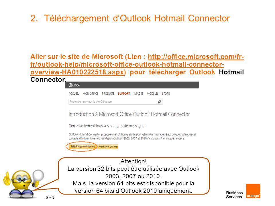 37 Atelier SMN 37 2.Téléchargement d'Outlook Hotmail Connector Aller sur le site de Microsoft (Lien : http://office.microsoft.com/fr- fr/outlook-help/microsoft-office-outlook-hotmail-connector- overview-HA010222518.aspx) pour télécharger Outlook Hotmail Connector.http://office.microsoft.com/fr- fr/outlook-help/microsoft-office-outlook-hotmail-connector- overview-HA010222518.aspx Attention.