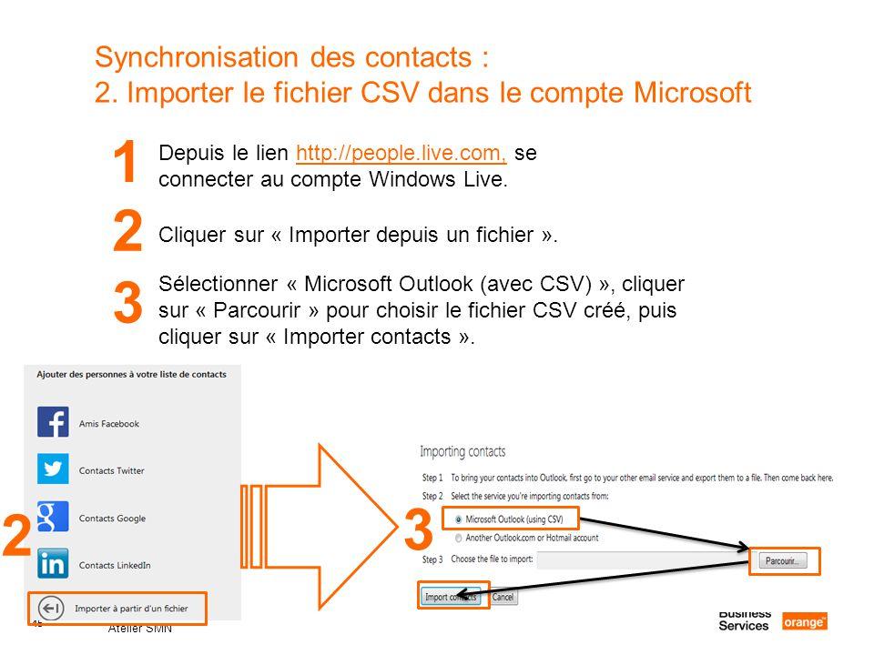 45 Atelier SMN 45 Synchronisation des contacts : 2. Importer le fichier CSV dans le compte Microsoft 1 Depuis le lien http://people.live.com, se conne