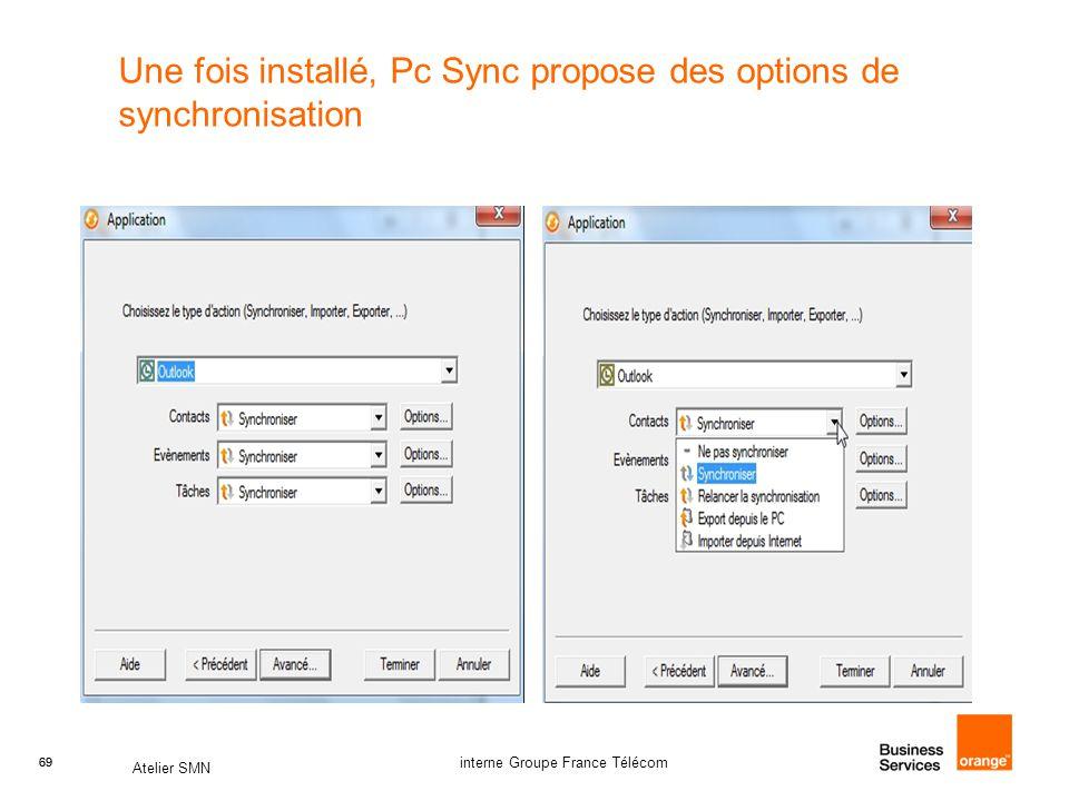 69 Atelier SMN 69 interne Groupe France Télécom Une fois installé, Pc Sync propose des options de synchronisation