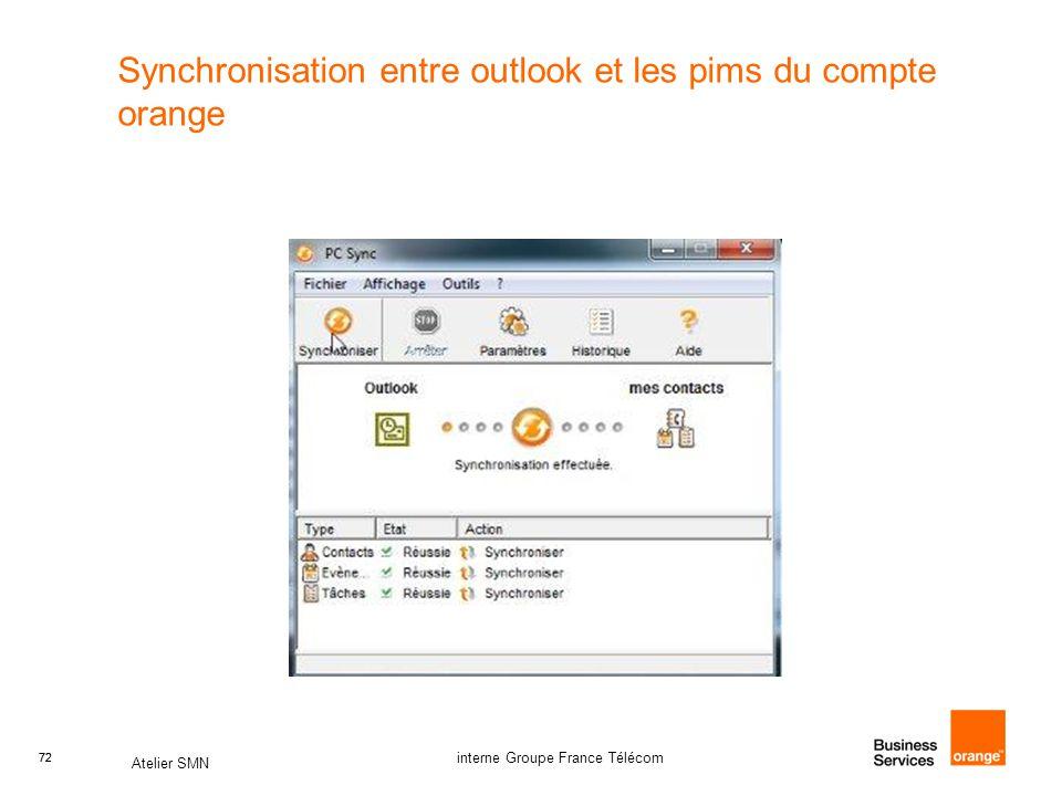 72 Atelier SMN 72 interne Groupe France Télécom Synchronisation entre outlook et les pims du compte orange