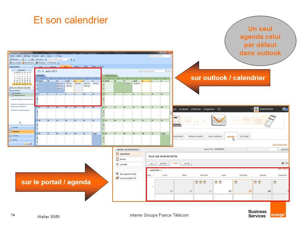 74 Atelier SMN 74 interne Groupe France Télécom Et son calendrier sur outlook / calendrier sur le portail / agenda Un seul agenda celui par défaut dans outlook