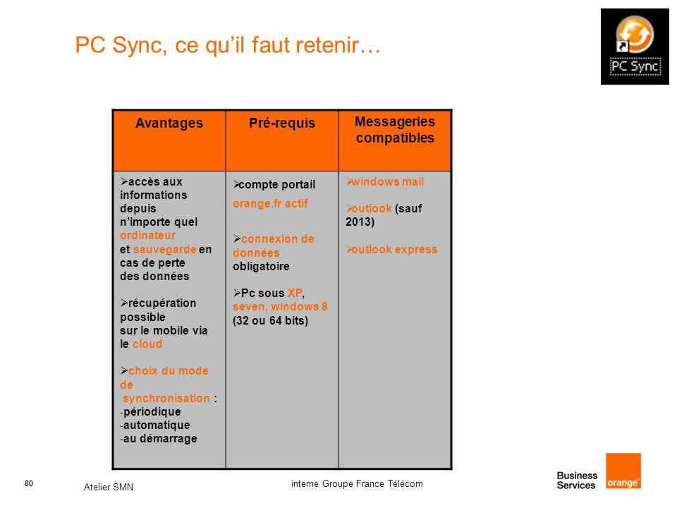 80 Atelier SMN 80 interne Groupe France Télécom PC Sync, ce qu'il faut retenir… Avantages Pré-requis Messageries compatibles  accès aux informations