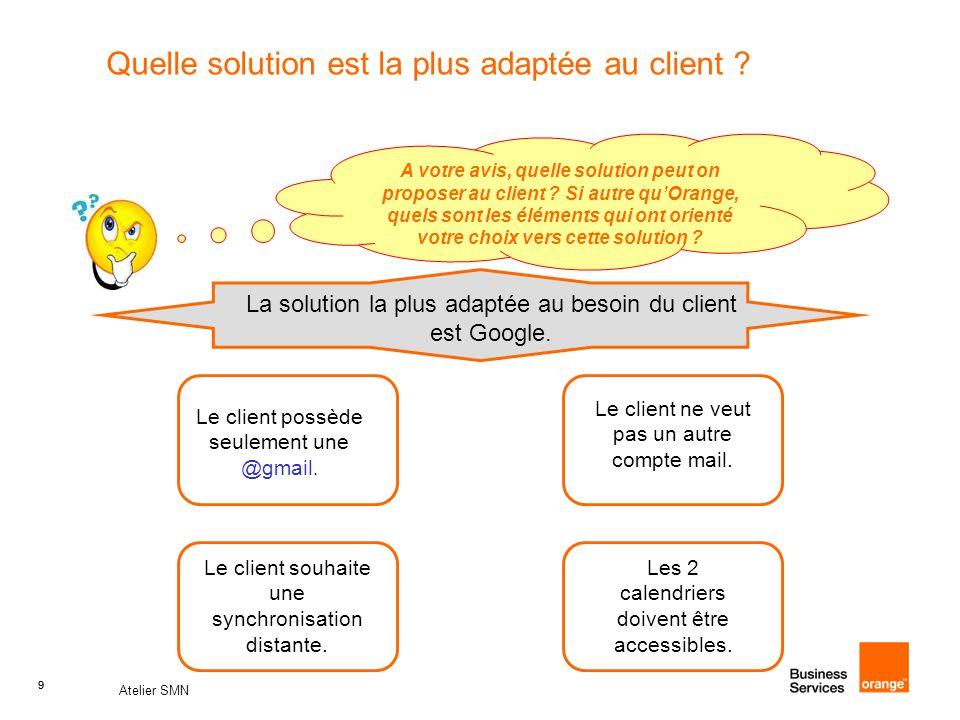 9 Atelier SMN 9 Quelle solution est la plus adaptée au client .
