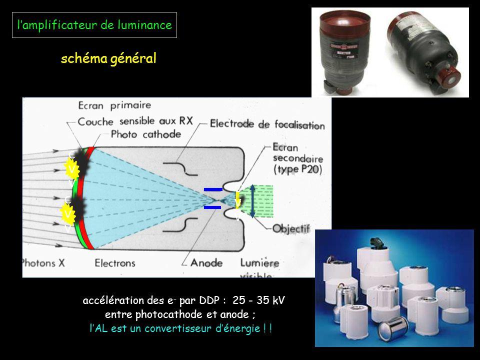 l'amplificateur de luminance schéma général accélération des e - par DDP : 25 - 35 kV entre photocathode et anode ; l'AL est un convertisseur d'énergi