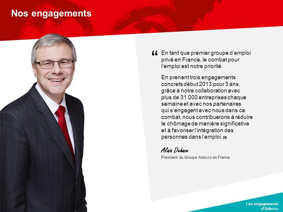 CLIENT DATE JJ/MM/AA Les engagements d'Adecco Nos engagements En tant que premier groupe d'emploi privé en France, le combat pour l'emploi est notre p