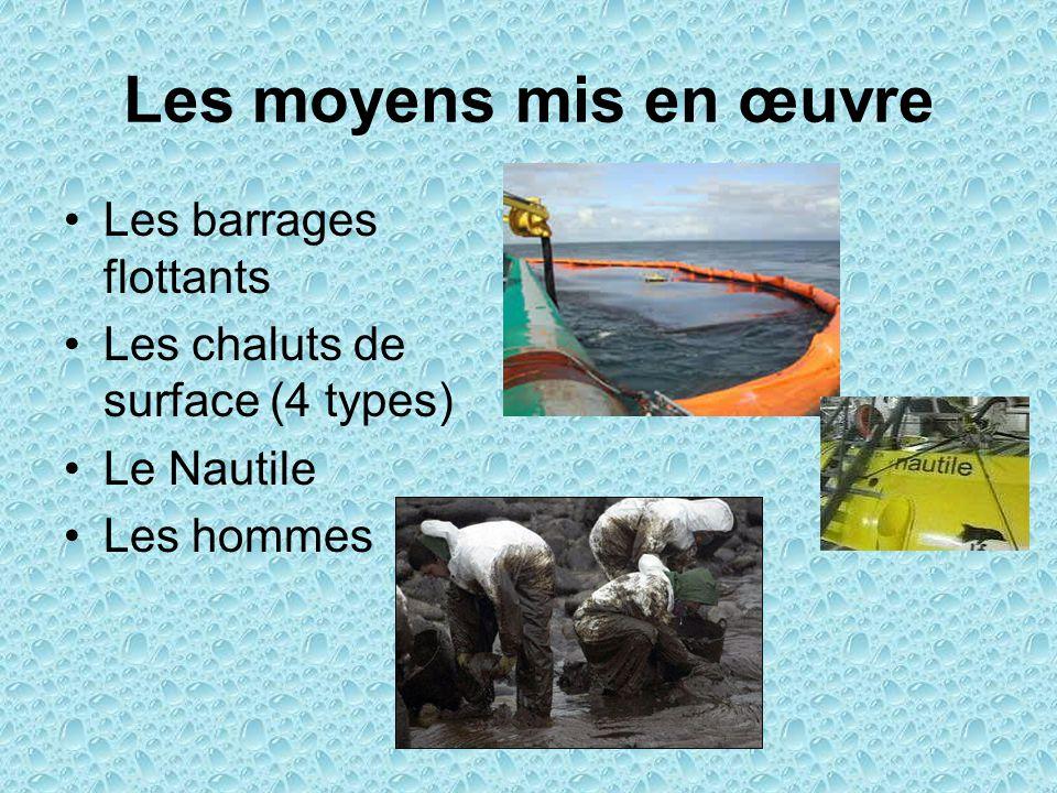 Les moyens mis en œuvre Les barrages flottants Les chaluts de surface (4 types) Le Nautile Les hommes