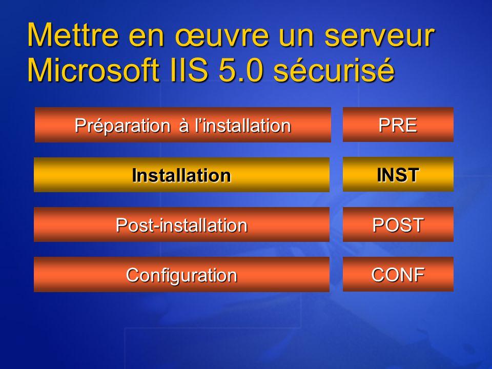 Mettre en œuvre un serveur Microsoft IIS 5.0 sécurisé Préparation à l'installation Installation Post-installation Configuration PRE INST POST CONF
