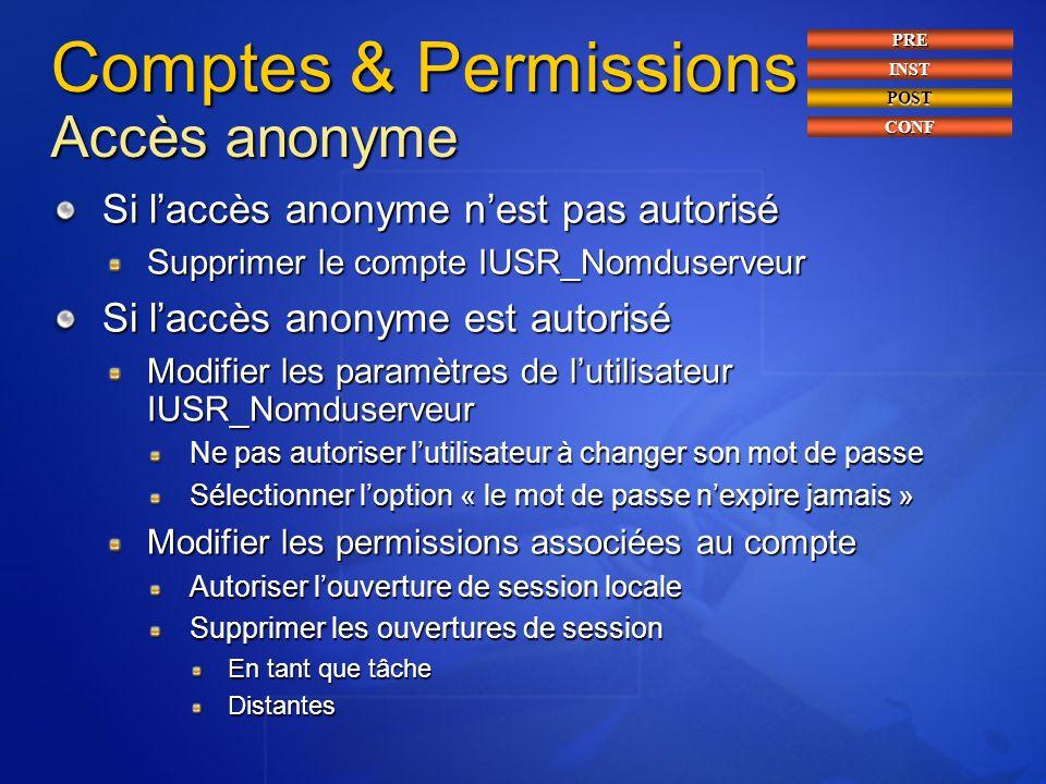 Comptes & Permissions Accès anonyme Si l'accès anonyme n'est pas autorisé Supprimer le compte IUSR_Nomduserveur Si l'accès anonyme est autorisé Modifi