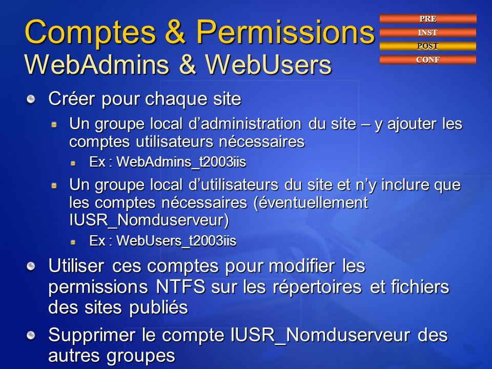Comptes & Permissions WebAdmins & WebUsers Créer pour chaque site Un groupe local d'administration du site – y ajouter les comptes utilisateurs nécess