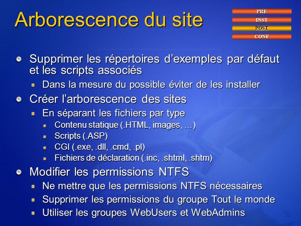 Arborescence du site Supprimer les répertoires d'exemples par défaut et les scripts associés Dans la mesure du possible éviter de les installer Créer