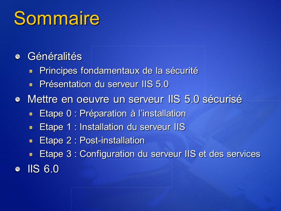 Configuration générale Les outils Utilisation de la Microsoft Management Console (recommandée) Requiert le snap-in Gestionnaire des Services Internet (ISM) Permet la délégation de l'administration des sites Préparation de consoles spécifiques en fonction des rôles et des habilitations Constitue la solution la plus souple et la plus complète Utilisation de l'interface Web d'administration Incomplète Délégation de pouvoir difficile Nécessité de mettre en œuvre les éléments de sécurité suivants : Communiquer via un tunnel SSL, après authentification du client par certificat Limiter l'accès à l'administrateur du serveur IIS Forcer la connexion depuis une IP prédéfinie PRE INST POST CONF
