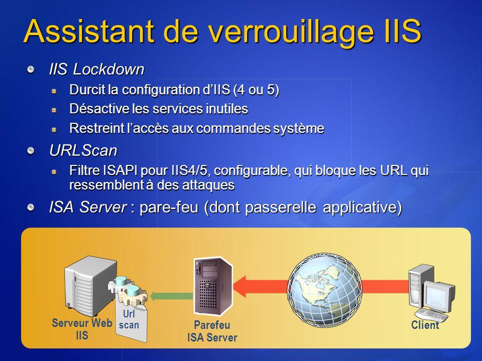 Assistant de verrouillage IIS IIS Lockdown Durcit la configuration d'IIS (4 ou 5) Désactive les services inutiles Restreint l'accès aux commandes syst