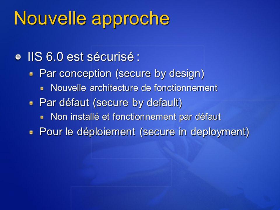 Nouvelle approche IIS 6.0 est sécurisé : Par conception (secure by design) Nouvelle architecture de fonctionnement Par défaut (secure by default) Non