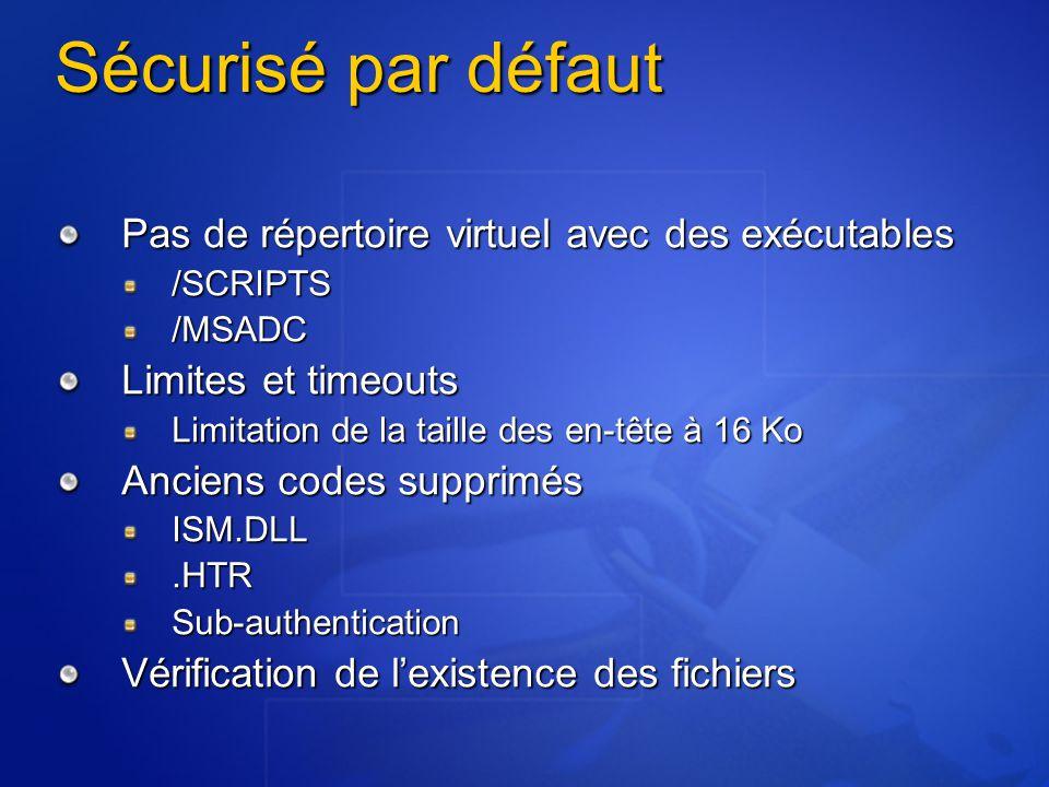 Sécurisé par défaut Pas de répertoire virtuel avec des exécutables /SCRIPTS/MSADC Limites et timeouts Limitation de la taille des en-tête à 16 Ko Anci