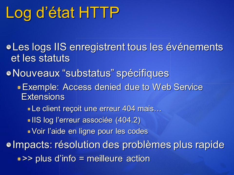 """Log d'état HTTP Les logs IIS enregistrent tous les événements et les statuts Nouveaux """"substatus"""" spécifiques Exemple: Access denied due to Web Servic"""