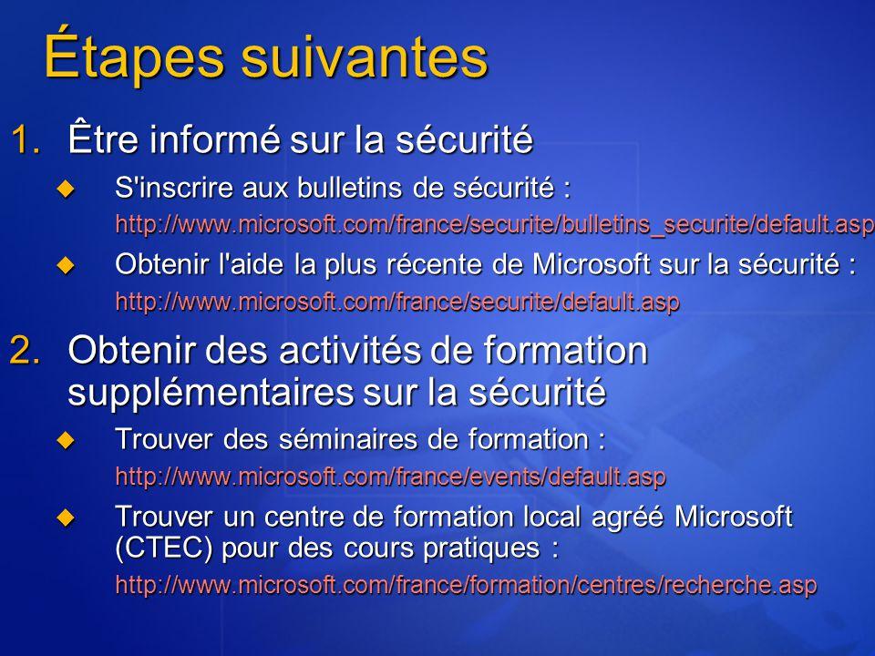 Étapes suivantes  Être informé sur la sécurité  S'inscrire aux bulletins de sécurité : http://www.microsoft.com/france/securite/bulletins_securite/
