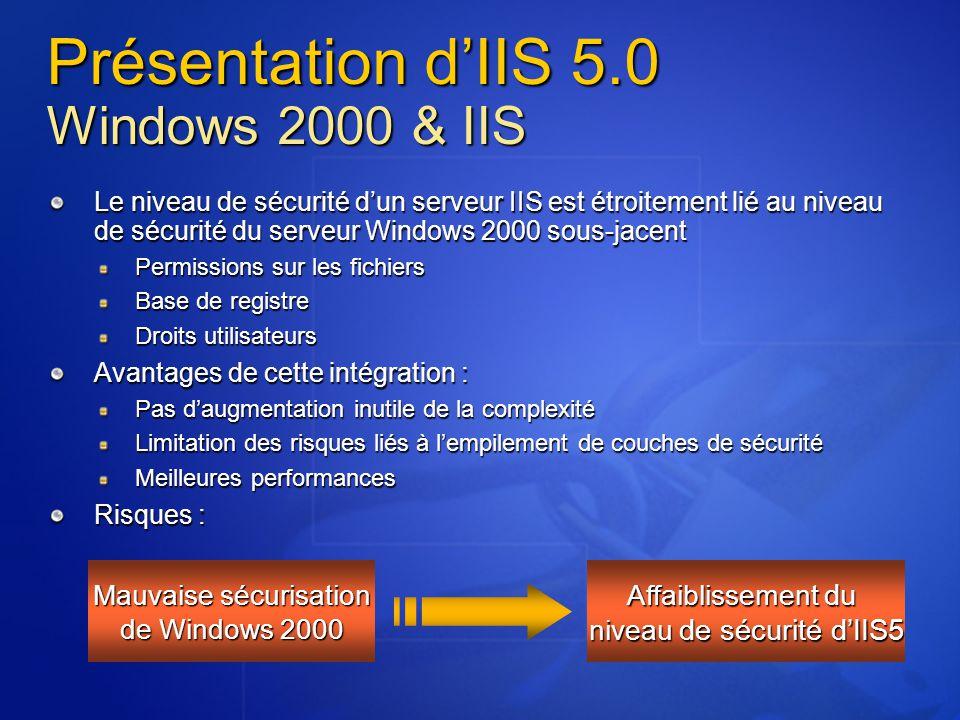 Arborescence du site Supprimer les répertoires d'exemples par défaut et les scripts associés Dans la mesure du possible éviter de les installer Créer l'arborescence des sites En séparant les fichiers par type Contenu statique (.HTML, images, …) Scripts (.ASP) CGI (.exe,.dll,.cmd,.pl) Fichiers de déclaration (.inc,.shtml,.shtm) Modifier les permissions NTFS Ne mettre que les permissions NTFS nécessaires Supprimer les permissions du groupe Tout le monde Utiliser les groupes WebUsers et WebAdmins PRE INST POST CONF