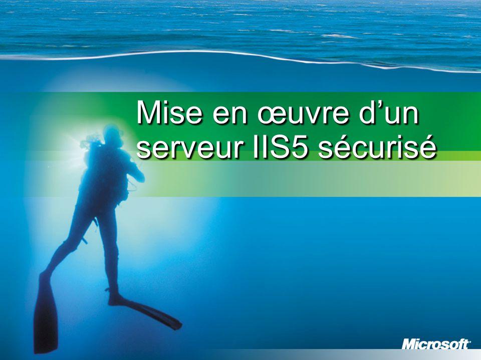 Sécurisation de la metabase IIS La Metabase contient les paramètres de configuration d'IIS Elle présente des avantages en termes de performance par rapport à la base de registre RapiditéFlexibilité Montée en charge Elle est stockée par défaut dans le fichier \WinNT\system32\inetsrv\Metabase.bin Elle contient des informations sensibles et doit être protégée Limiter les accès au seul groupe local Administrateurs Déplacer et renommer le fichier HKLM\Software\Microsoft\InetMgr\Parameters : ajouter une rubrique MetadataFile contenant le chemin complet vers le nouveau fichier PRE INST POST CONF