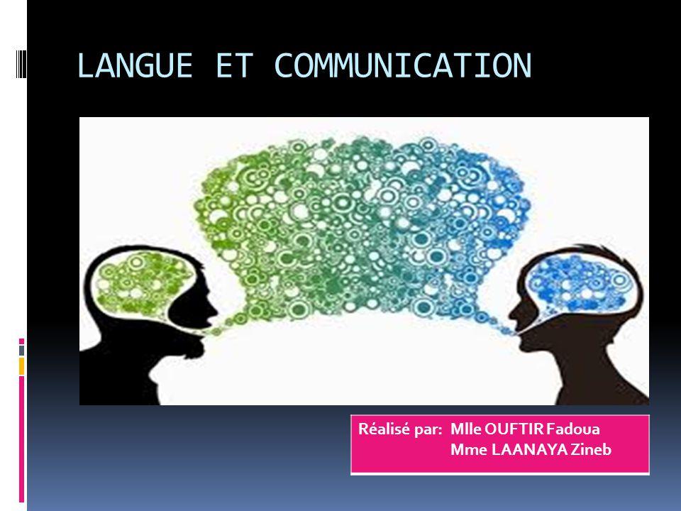 LANGUE ET COMMUNICATION Réalisé par: Mlle OUFTIR Fadoua Mme LAANAYA Zineb