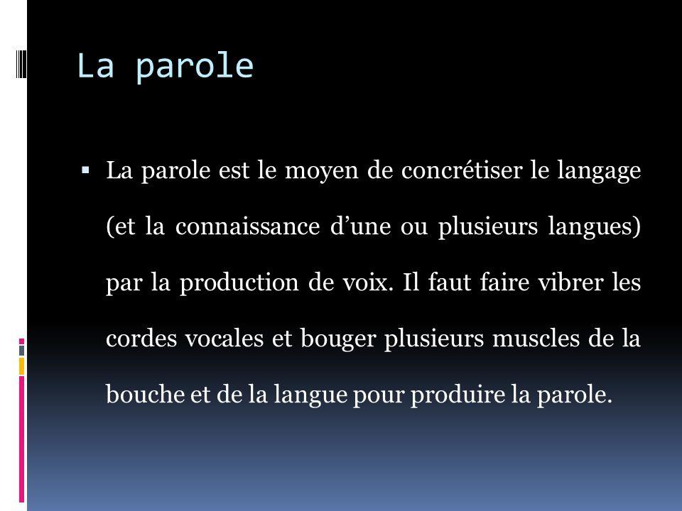 La parole  La parole est le moyen de concrétiser le langage (et la connaissance d'une ou plusieurs langues) par la production de voix.