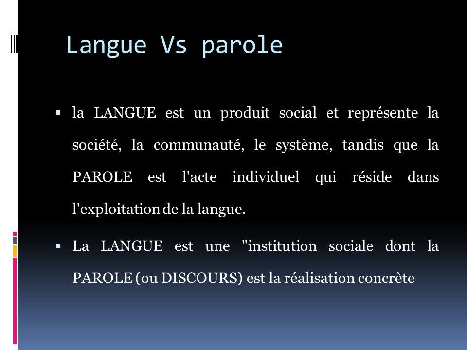 Langue Vs parole  la LANGUE est un produit social et représente la société, la communauté, le système, tandis que la PAROLE est l acte individuel qui réside dans l exploitation de la langue.