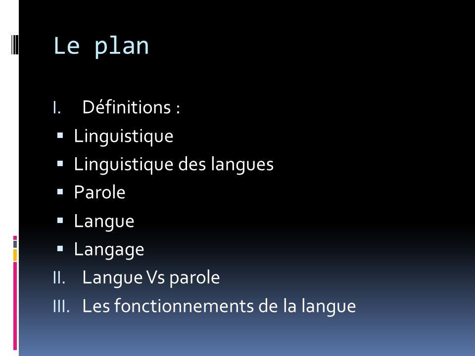 Le plan I. Définitions :  Linguistique  Linguistique des langues  Parole  Langue  Langage II. Langue Vs parole III. Les fonctionnements de la lan