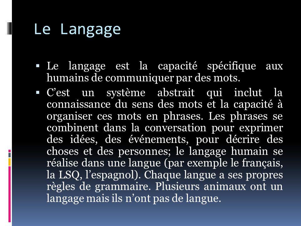 Le Langage  Le langage est la capacité spécifique aux humains de communiquer par des mots.  C'est un système abstrait qui inclut la connaissance du