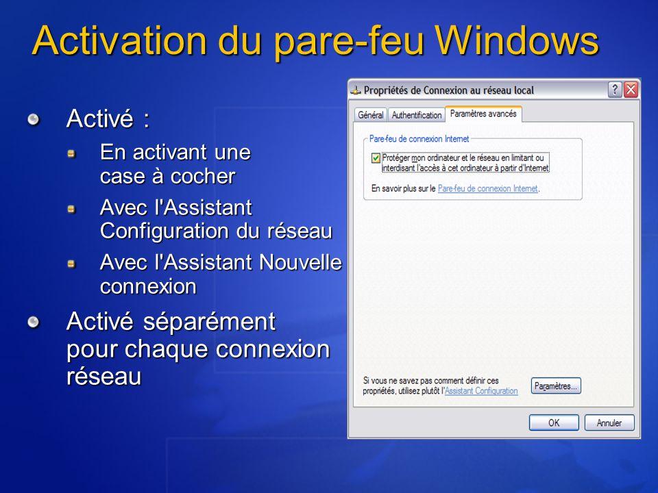 Activé : En activant une case à cocher Avec l Assistant Configuration du réseau Avec l Assistant Nouvelle connexion Activé séparément pour chaque connexion réseau Activation du pare-feu Windows