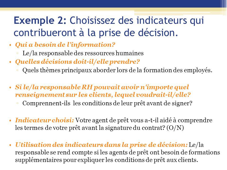 Exemple 2: Choisissez des indicateurs qui contribueront à la prise de décision. Qui a besoin de l'information? ▫Le/la responsable des ressources humai