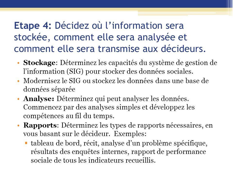 Etape 4: Décidez où l'information sera stockée, comment elle sera analysée et comment elle sera transmise aux décideurs. Stockage: Déterminez les capa