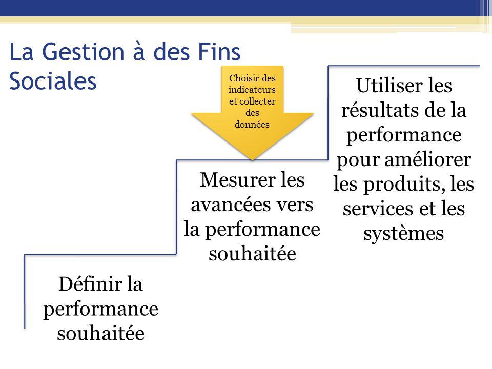 La Gestion à des Fins Sociales Définir la performance souhaitée Mesurer les avancées vers la performance souhaitée Utiliser les résultats de la performance pour améliorer les produits, les services et les systèmes Choisir des indicateurs et collecter des données