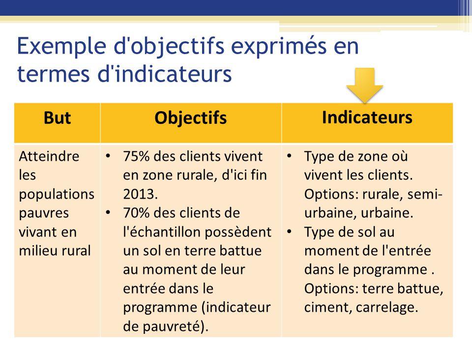 Exemple d'objectifs exprimés en termes d'indicateurs ButObjectifsIndicateurs Atteindre les populations pauvres vivant en milieu rural 75% des clients