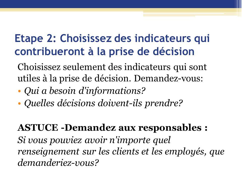 Etape 2: Choisissez des indicateurs qui contribueront à la prise de décision Choisissez seulement des indicateurs qui sont utiles à la prise de décision.