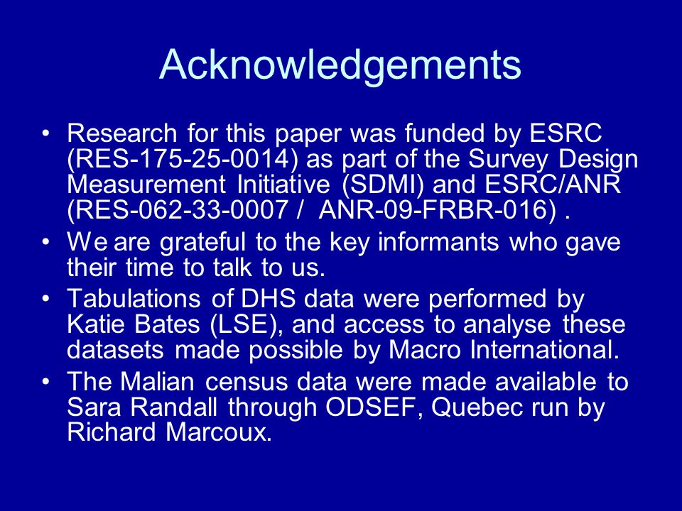 Acknowledgements Research for this paper was funded by ESRC (RES-175-25-0014) as part of the Survey Design Measurement Initiative (SDMI) and ESRC/ANR (RES-062-33-0007 / ANR-09-FRBR-016).