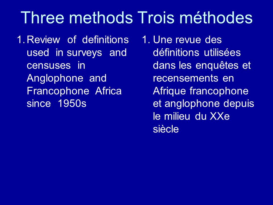 Three methods Trois méthodes 1.Review of definitions used in surveys and censuses in Anglophone and Francophone Africa since 1950s 1.Une revue des déf