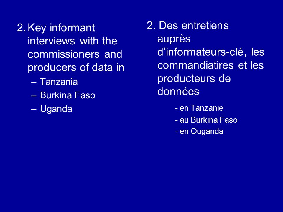 2.Key informant interviews with the commissioners and producers of data in –Tanzania –Burkina Faso –Uganda 2.