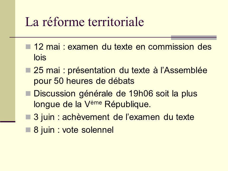 La réforme territoriale 12 mai : examen du texte en commission des lois 25 mai : présentation du texte à l'Assemblée pour 50 heures de débats Discussi