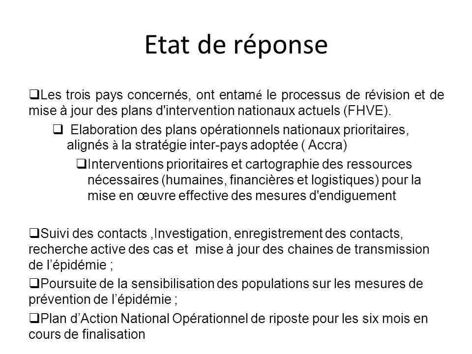 Etat de réponse  Les trois pays concernés, ont entam é le processus de révision et de mise à jour des plans d'intervention nationaux actuels (FHVE).