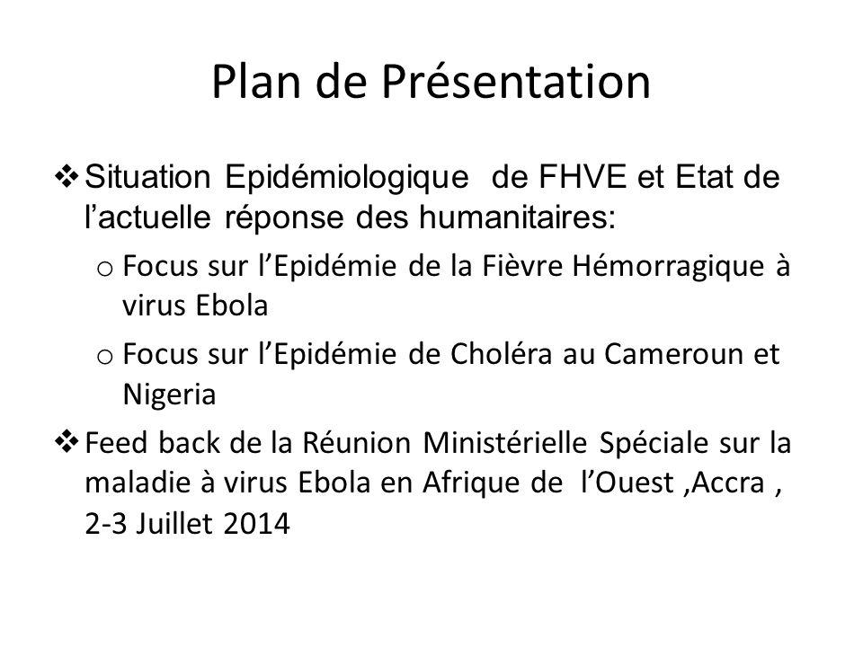 Plan de Présentation  Situation Epidémiologique de FHVE et Etat de l'actuelle réponse des humanitaires: o Focus sur l'Epidémie de la Fièvre Hémorragi