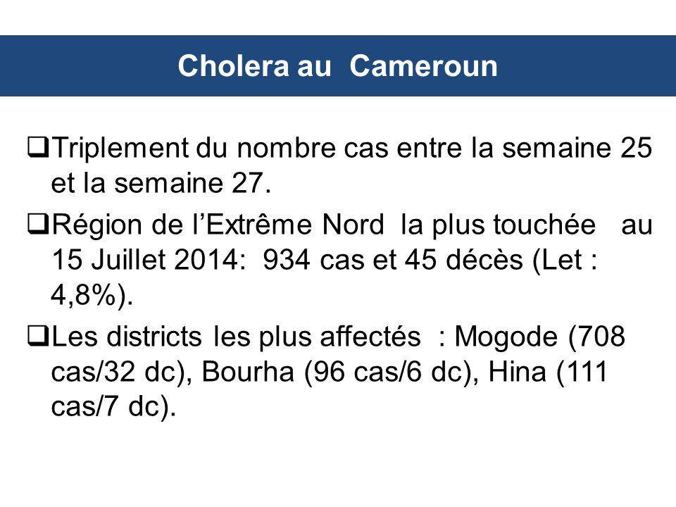 Cholera au Cameroun  Triplement du nombre cas entre la semaine 25 et la semaine 27.  Région de l'Extrême Nord la plus touchée au 15 Juillet 2014: 93