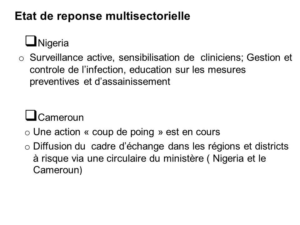 Etat de reponse multisectorielle  Nigeria o Surveillance active, sensibilisation de cliniciens; Gestion et controle de l'infection, education sur les