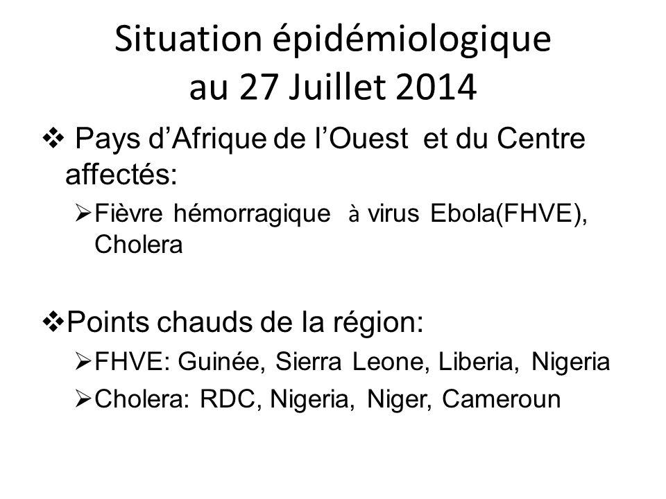 Situation épidémiologique au 27 Juillet 2014  Pays d'Afrique de l'Ouest et du Centre affectés:  Fièvre hémorragique à virus Ebola(FHVE), Cholera  P