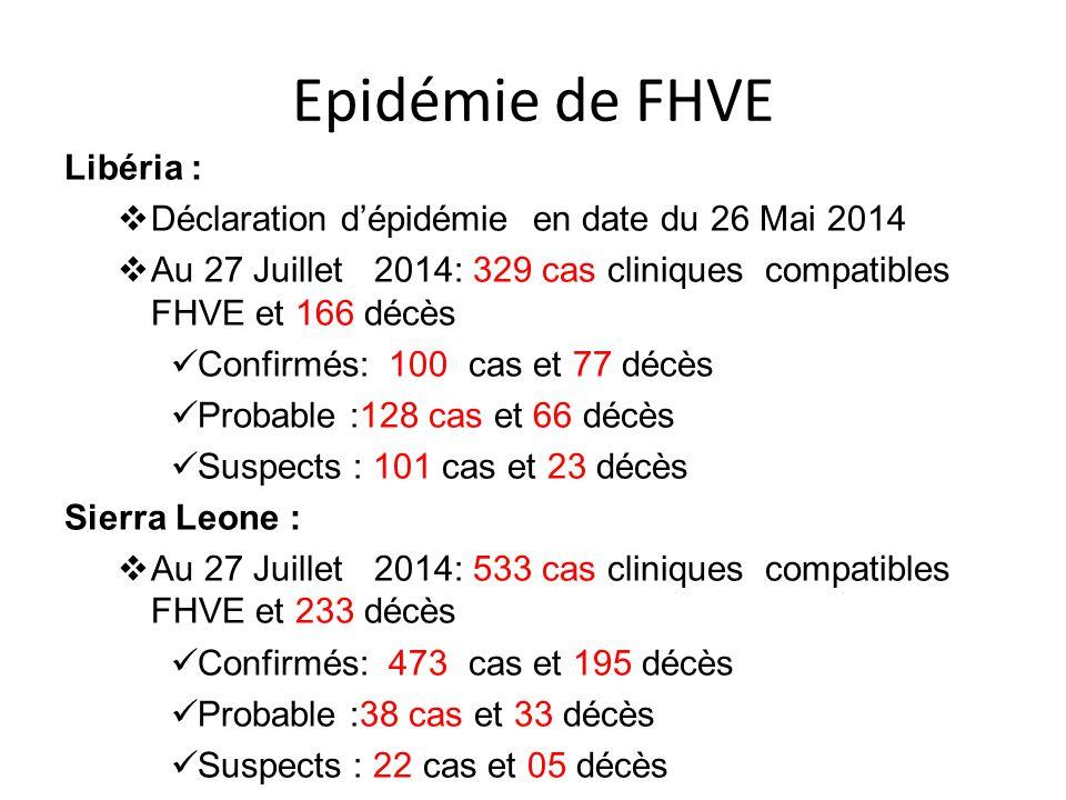 Epidémie de FHVE Libéria :  Déclaration d'épidémie en date du 26 Mai 2014  Au 27 Juillet 2014: 329 cas cliniques compatibles FHVE et 166 décès Confi