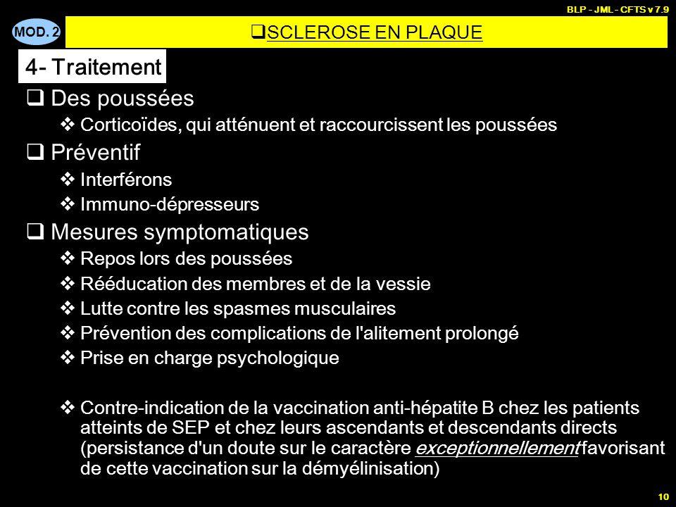 MOD. 2 BLP - JML - CFTS v 7.9 10  Des poussées  Corticoïdes, qui atténuent et raccourcissent les poussées  Préventif  Interférons  Immuno-dépress