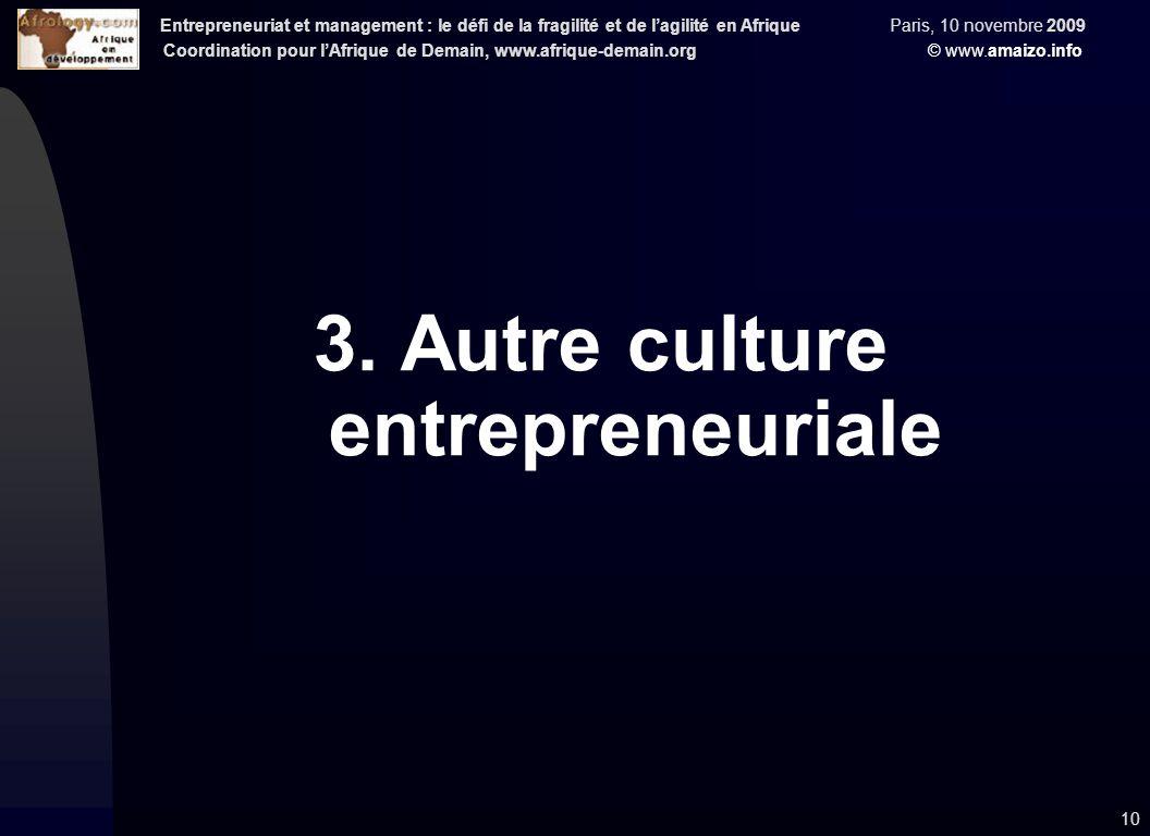 Entrepreneuriat et management : le défi de la fragilité et de l'agilité en Afrique Paris, 10 novembre 2009 Coordination pour l'Afrique de Demain, www.afrique-demain.org © www.amaizo.info 10 3.