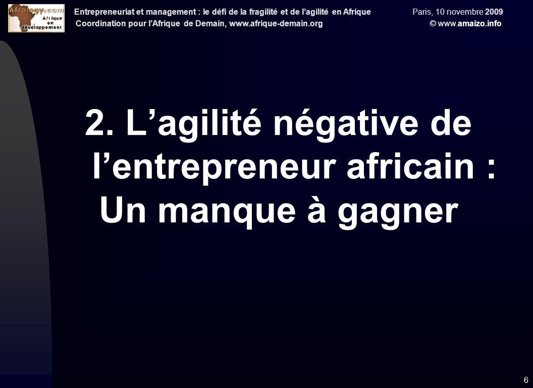 Entrepreneuriat et management : le défi de la fragilité et de l'agilité en Afrique Paris, 10 novembre 2009 Coordination pour l'Afrique de Demain, www.afrique-demain.org © www.amaizo.info 6 2.