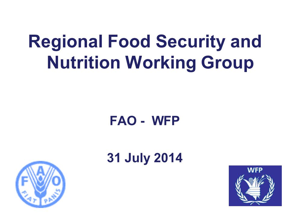 Regional Food Security and Nutrition Working Group Markets Update FAO - WFP 31 July 2014