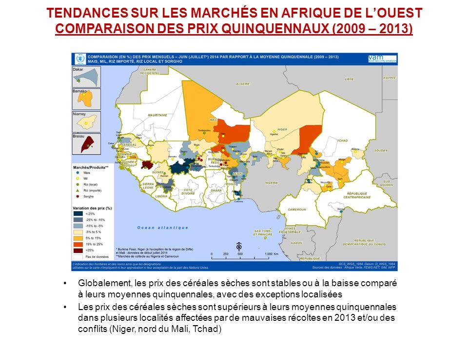 TENDANCES SUR LES MARCHÉS EN AFRIQUE DE L'OUEST COMPARAISON DES PRIX QUINQUENNAUX (2009 – 2013) Globalement, les prix des céréales sèches sont stables